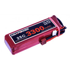 Аккумулятор AGA POWER Li-Po 3300mAh 14.8V 4S 25C Softcase 26x34x134мм T-Plug
